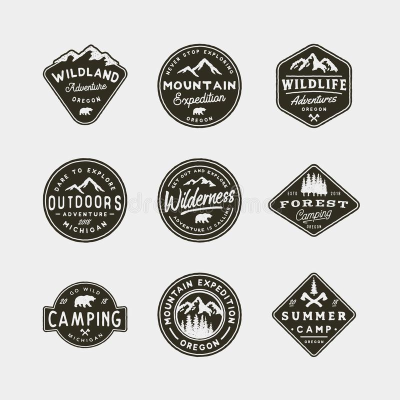 Free Set Of Vintage Wilderness Logos. Hand Drawn Retro Styled Outdoor Adventure Emblems. Vector Illustration Royalty Free Stock Photos - 111846188