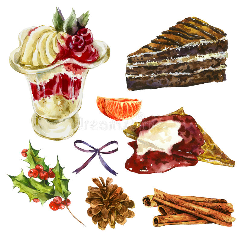 Free Set Of Watercolor Christmas Sweet Dessert Elements Royalty Free Stock Image - 60806536