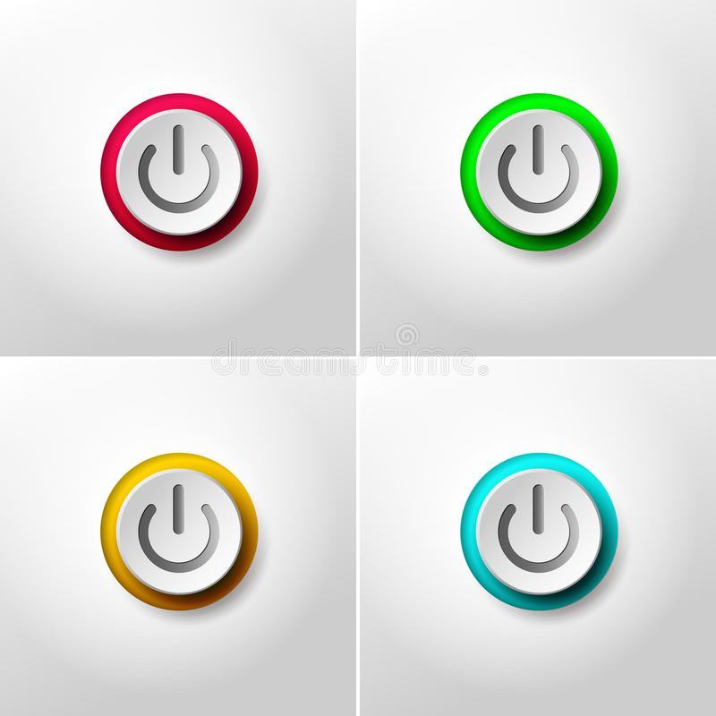 Free Set Of Web Icon Push Button Power. Red, Green, Yellow And Blue Colors. Vector Illustration. Isolated On White Background Royalty Free Stock Image - 118876856