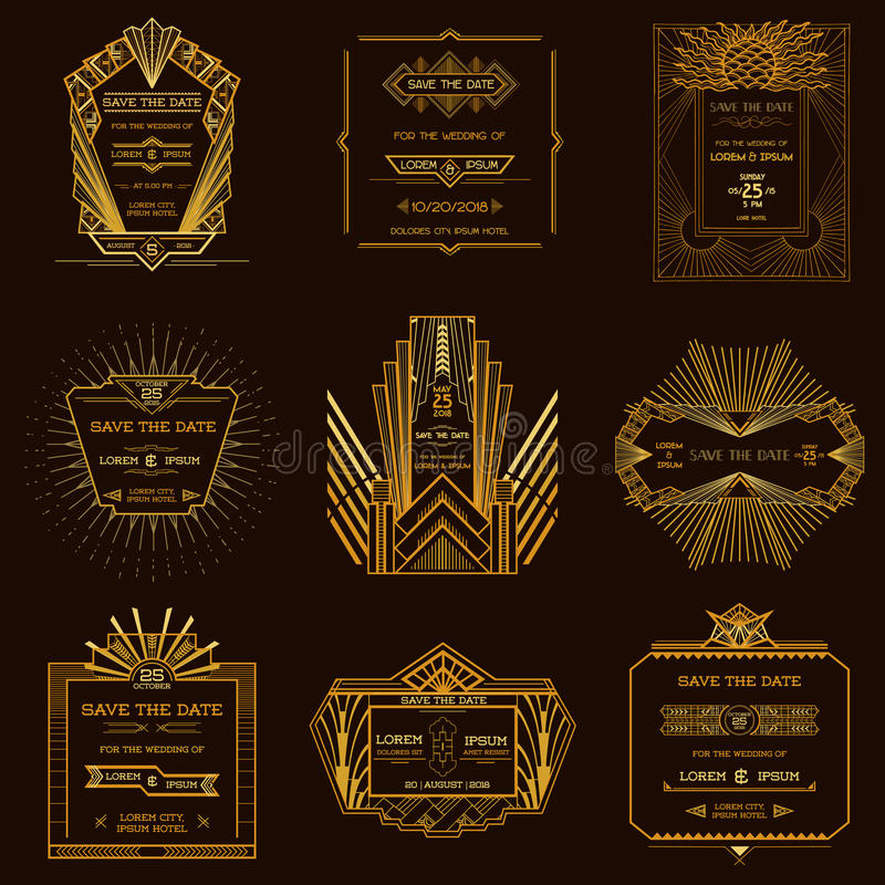 Free Set Of Wedding Invitation Cards - Art Deco Stock Image - 42468911