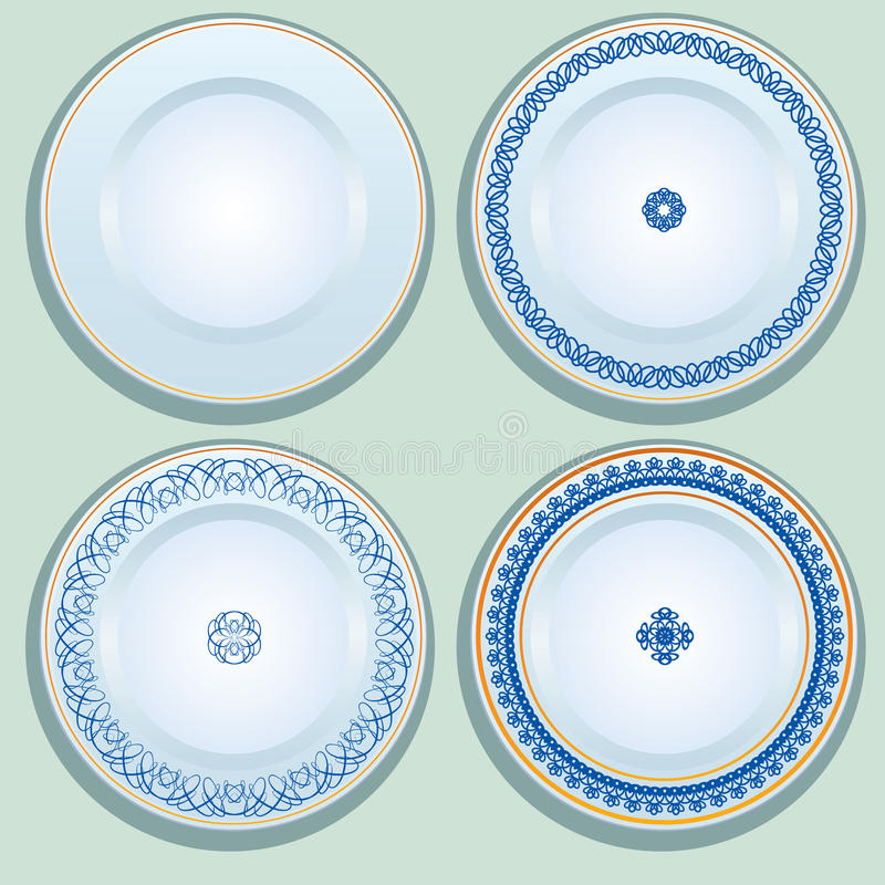 Free Set Of White Porcelain Plate With Blue Ornament, Patterned Round Stock Image - 93241331