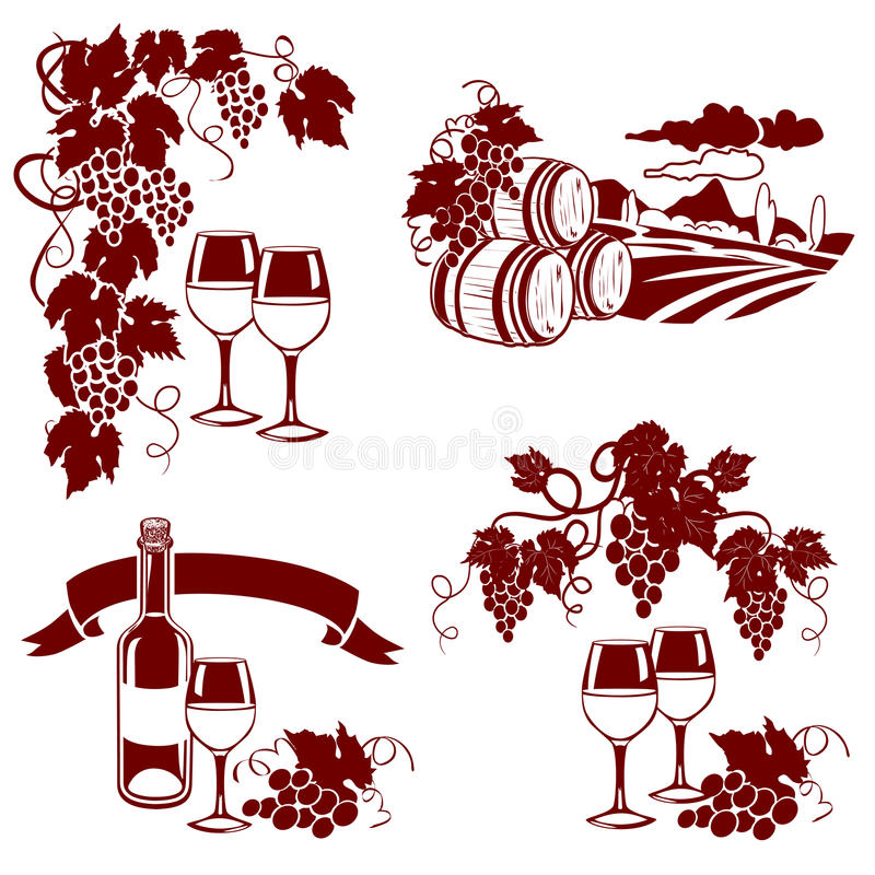 Free Set Of Wine Logos, Imprint Royalty Free Stock Photo - 45446085