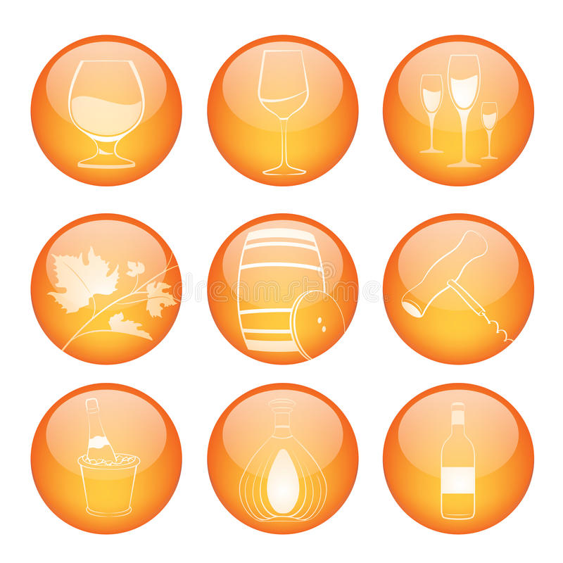 Free Set Of Winery Sphere Icons Stock Photos - 26036113