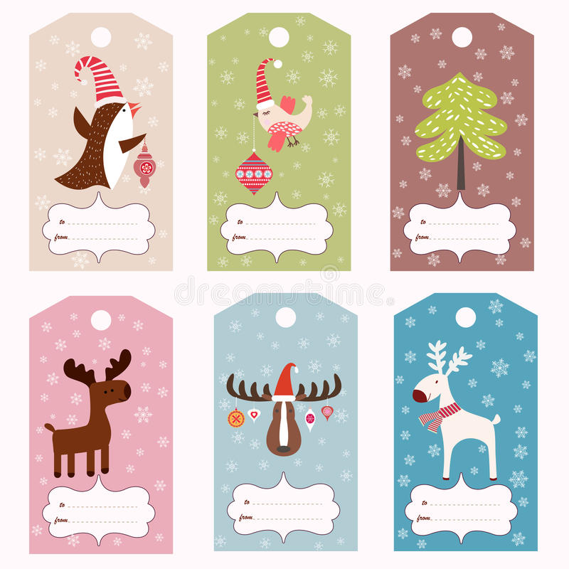 Free Set Of Winter Gift Tags Stock Photography - 48219922