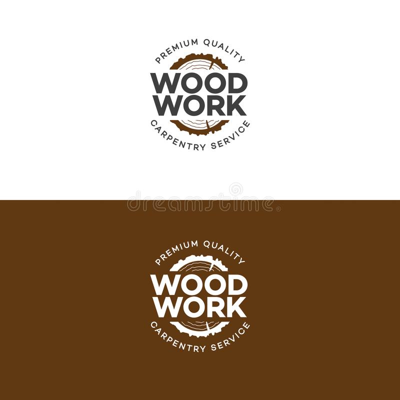 Free Set Of Wood Work Logo With Sawed Wood Isolated On Background For Wood Master Stock Image - 101472331