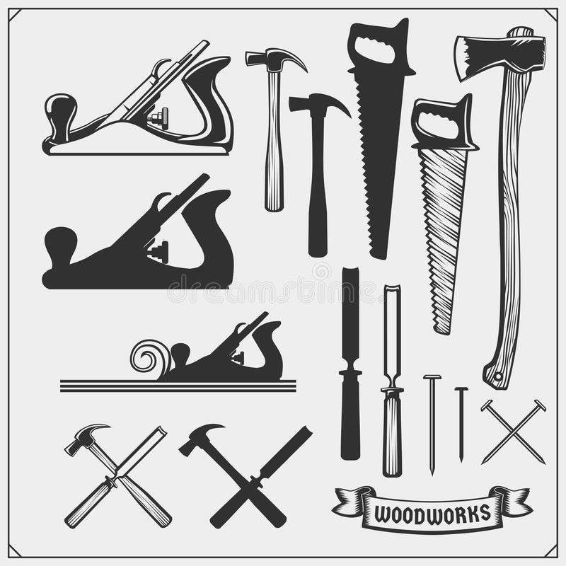 Free Set Of Woodworking And Carpentry Wood Work Tools. Carpentry Shop Design. Stock Photo - 150814270