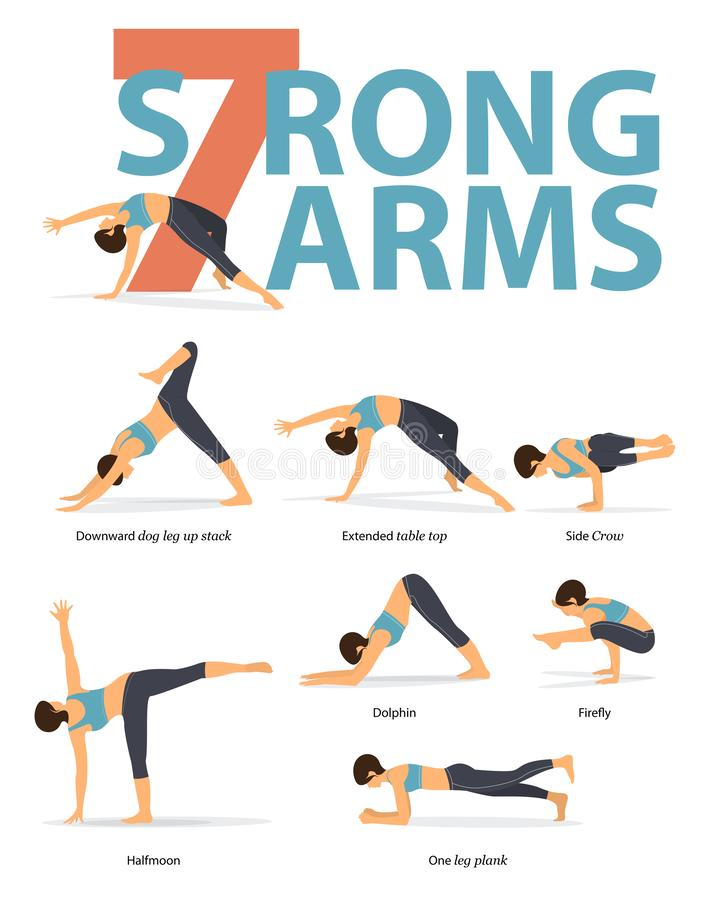 Free Set Of Yoga Postures Female Figures For Infographic 7 Yoga Poses For Strong Arms In Flat Design. Stock Images - 128614314