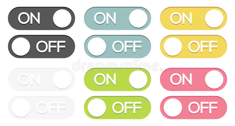 Set Of On - Off Buttons Stock Vector