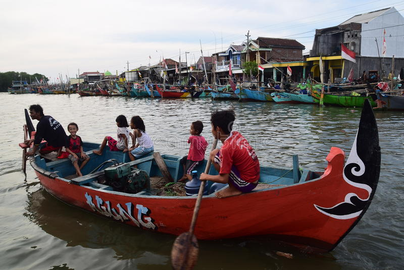 Set off for fishing. Genesis La Nina beginning of his usual rainy season, but in several places in Java is still not raining exploited number of fishermen stock images