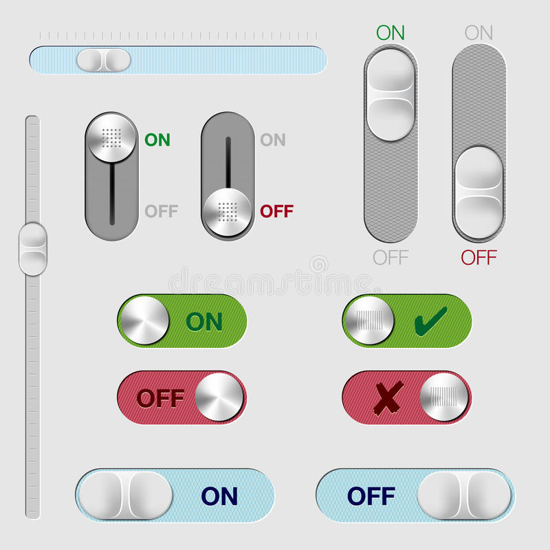 Set of ON/OFF switch buttons and rollovers royalty free illustration