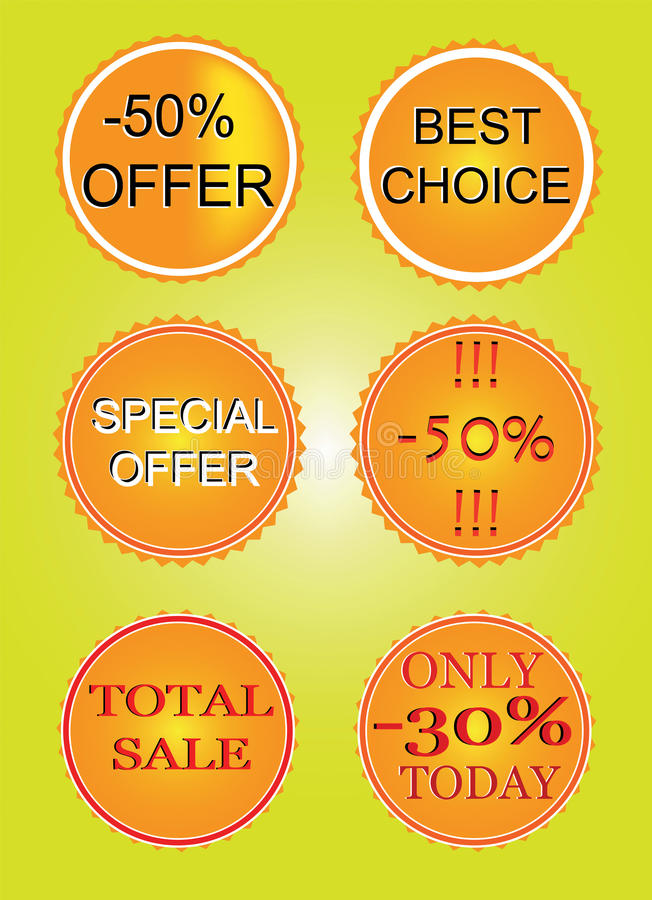 Download Set of offer labels stock vector. Image of discount, retail - 28665434