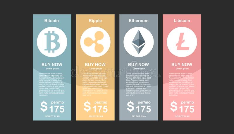 Set of offer tariffs for crypto currency operations ui ux vector banner for web app set of pricing vector illustration
