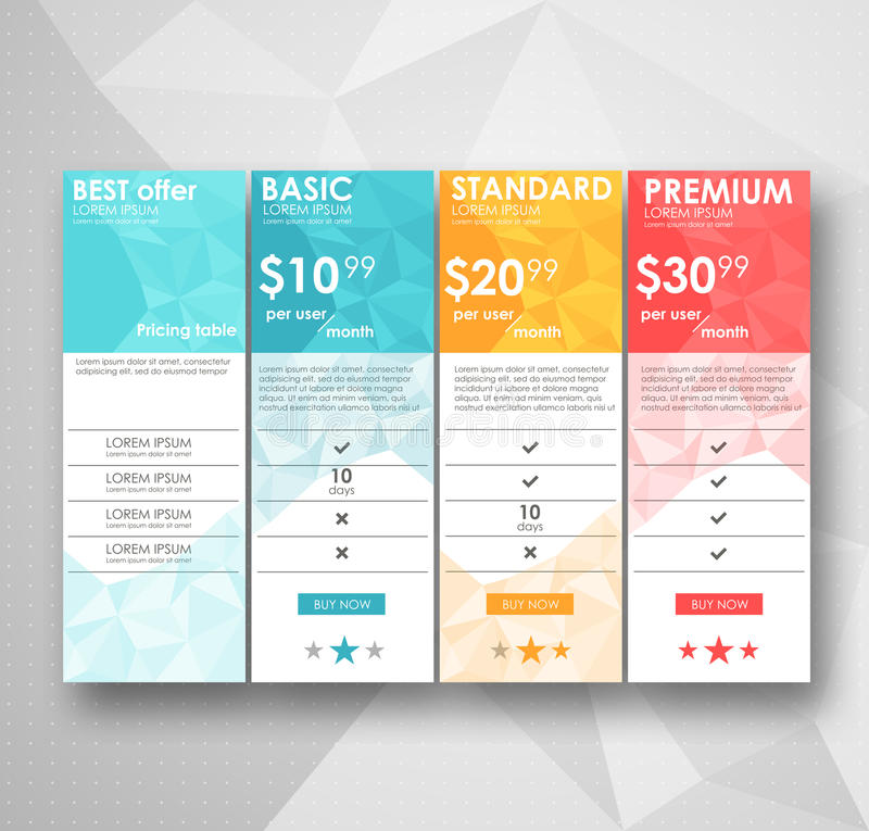 Set offer tariffs. ui ux vector banner for web app. set pricing table, order, box, button, list with plan for website in royalty free illustration