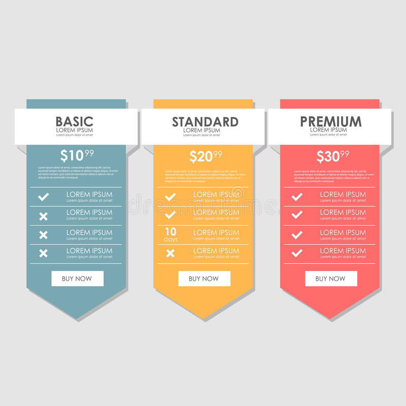 Set offer tariffs. ui ux vector banner for web app. set pricing table, order, box, button, list with plan for website in royalty free stock photos