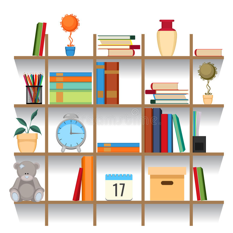 office decorative accessories. Download Set Of Office Accessories On Shelf Vector Illustration. Stacked Book Stock - Illustration Decorative E