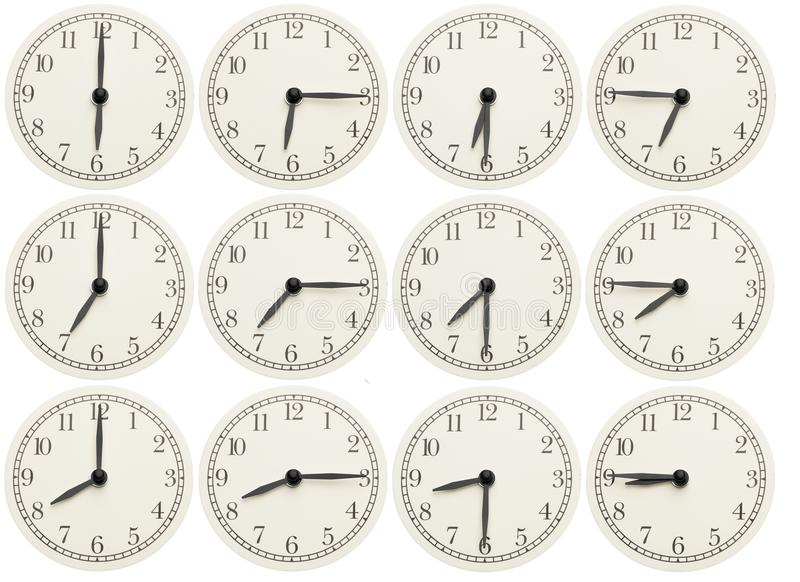 Set of office clocks showing various time isolated on white background stock images
