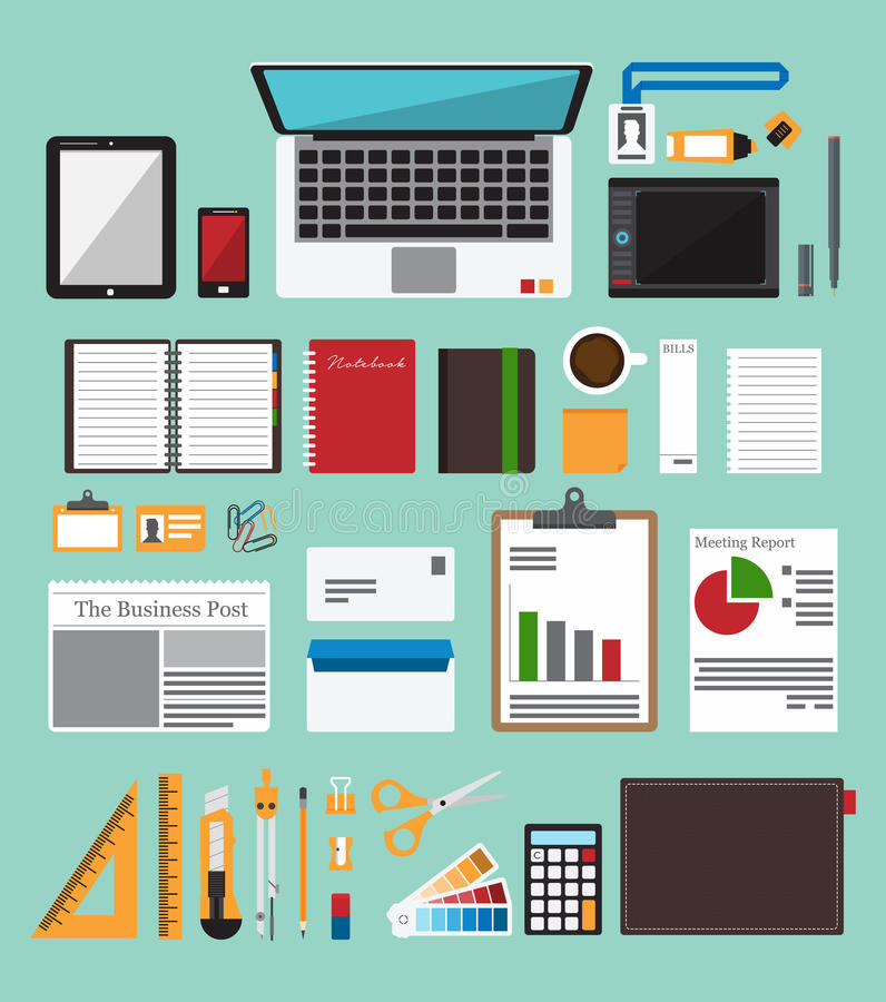 Set of office equipment in flat design. Icon collection of business work flow items . Vector Illustration stock illustration
