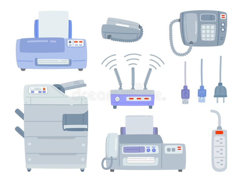 Set of office equipment. Printer, Phone, Copier,Fax, WI-FI Router, Wire, Cable, Plug socket Office electronics digital stock illustration