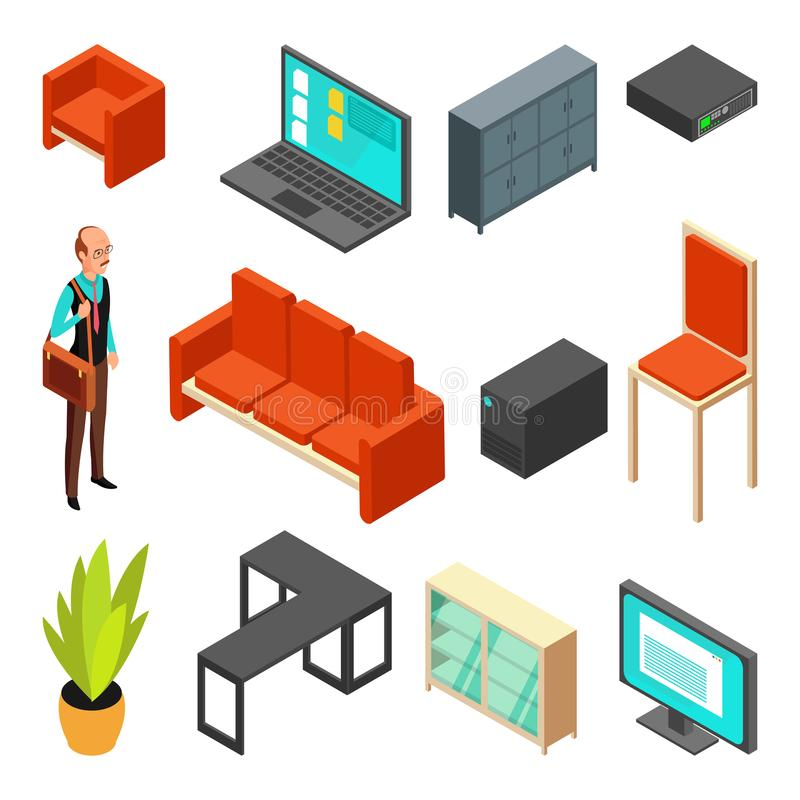 Set of office isometric icons. Sofa, chair, armchair, system unit, router. And businessman. Flat vector illustration royalty free illustration