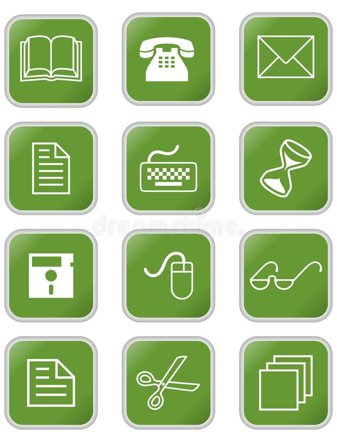 A set of office or web icons in square with rounded corners royalty free illustration