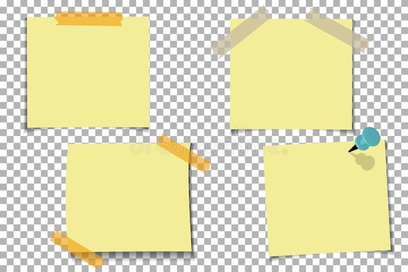 Set office Yellow paper note with sticky tape, isolated on transparent background. Template for your projects. Vector illustration stock illustration