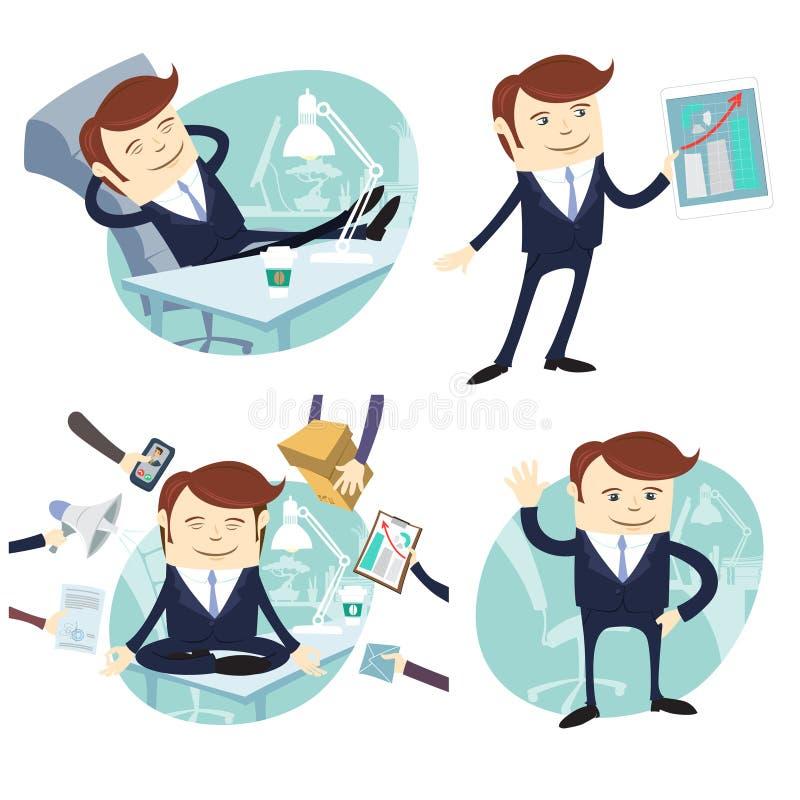 Set officeman: gnuśna pracownik stopa na biurku, sprzedawca z przyrządem royalty ilustracja
