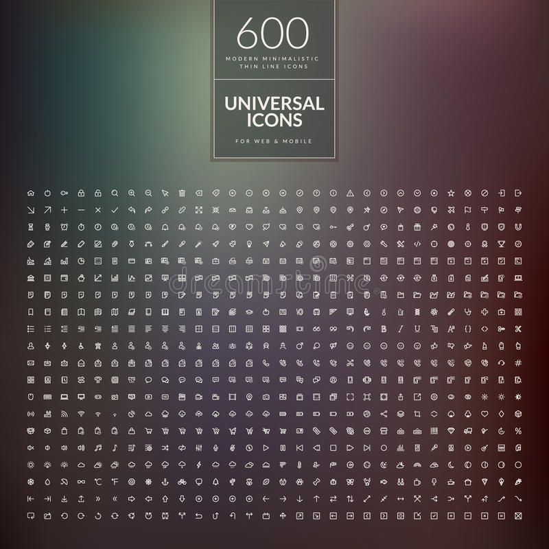 Set 600 ogólnoludzkich nowożytni cienieje kreskowe ikony dla sieci i wiszącej ozdoby ilustracja wektor