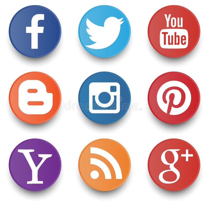 Set ogólnospołeczne ikony odizolowywać na białym tle obraz royalty free