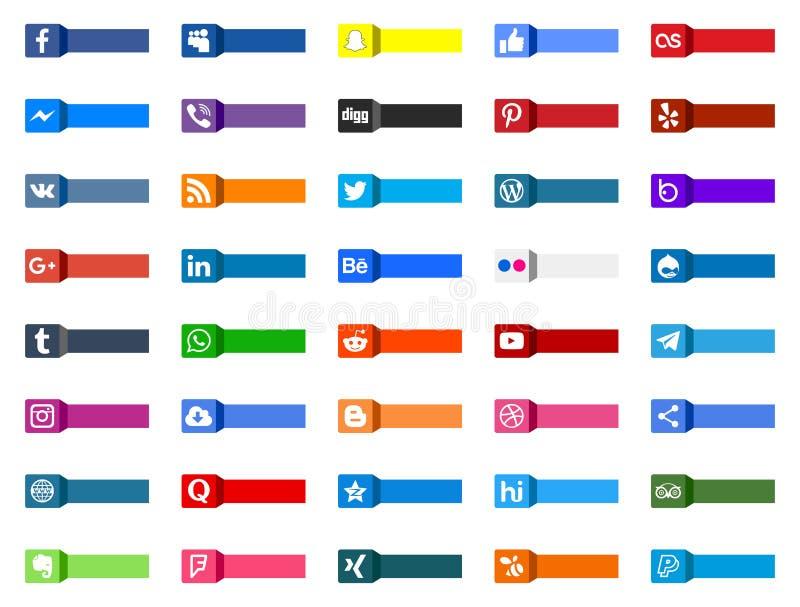Set ogólnospołeczne medialne ikony ilustracja wektor