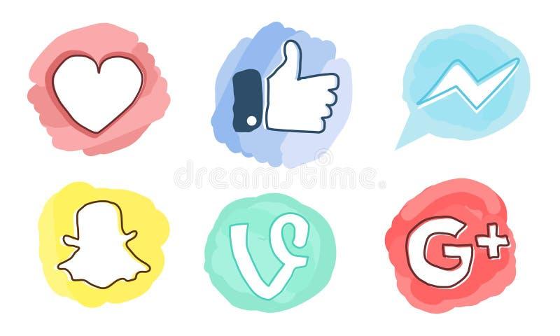 Set ogólnospołeczne medialne ikony: Facebook, Google Plus, winograd, goniec, Snapchat, Jak czerwony serce ilustracji