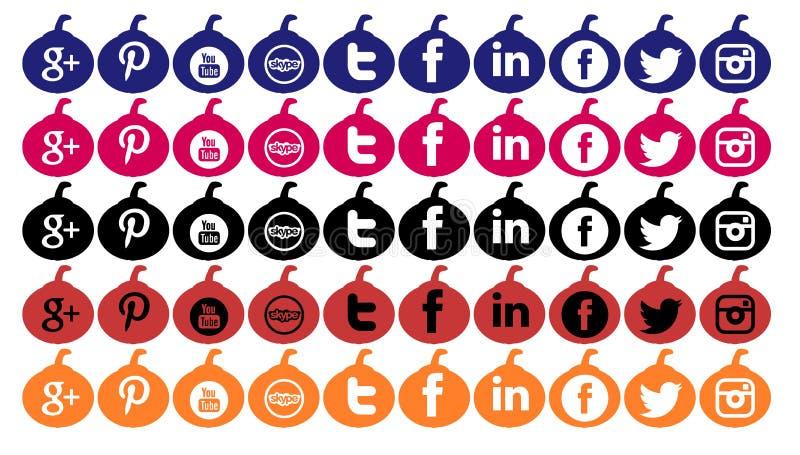 Set ogólnospołeczne sieci ikony odizolowywać dla Halloween ilustracja wektor