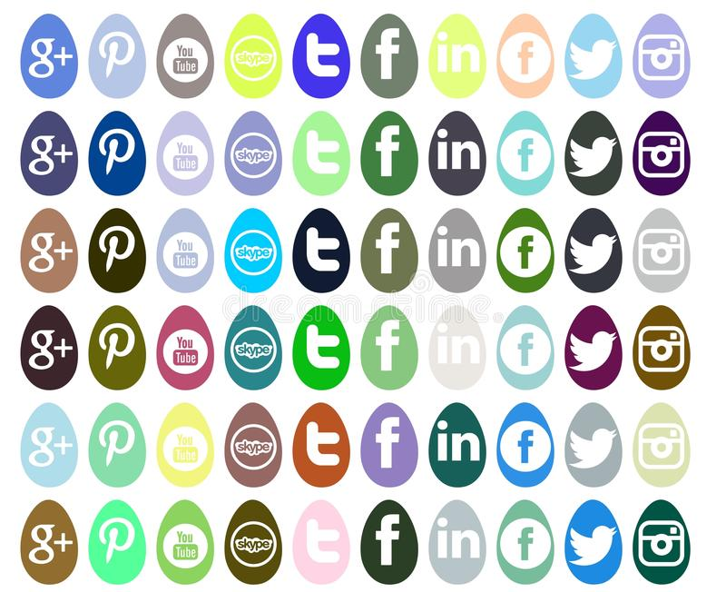 Set ogólnospołeczne sieci ikony odizolowywać dla wielkanocy ilustracji