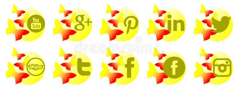 Set ogólnospołeczne sieci ikony z motylami ilustracja wektor