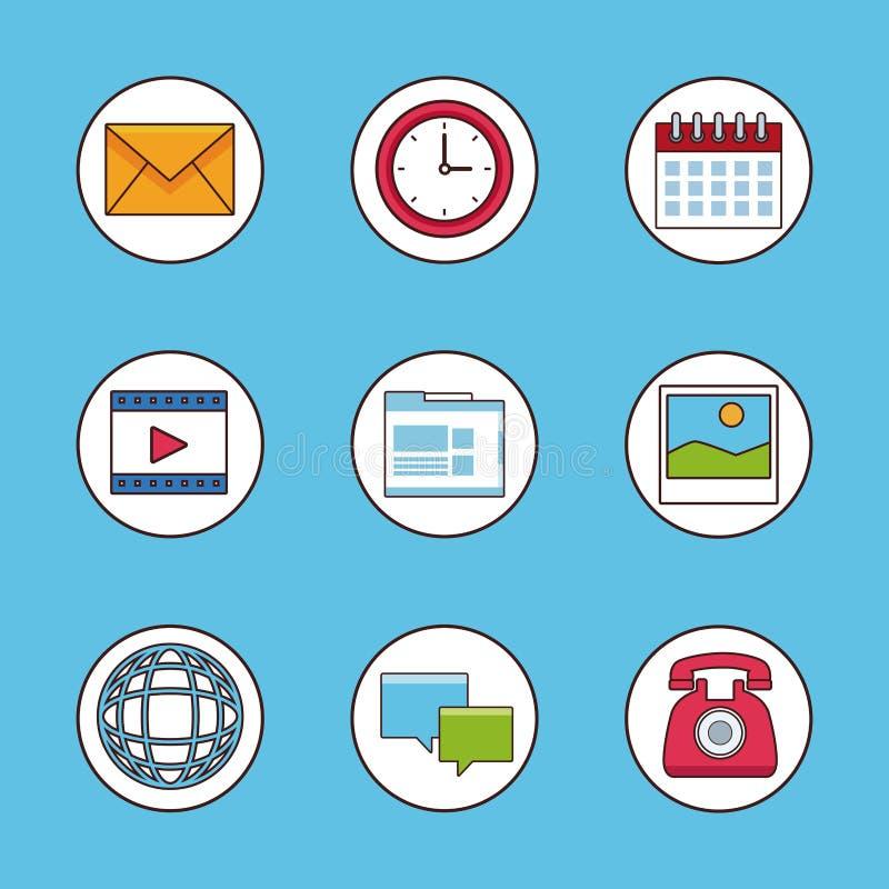 Set ogólnospołeczni sieć symbole ilustracja wektor
