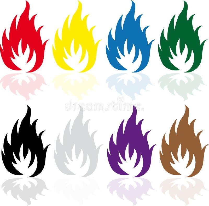 Set ogień ilustracji