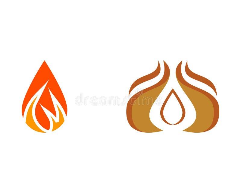 Set ogień kropli logo ilustracja wektor