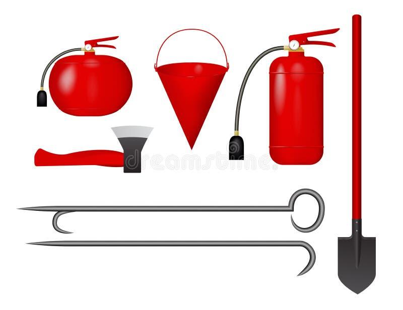 Set ogień wytłacza wzory czerwień ilustracja wektor