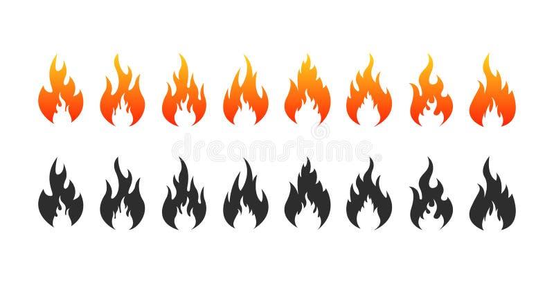 Set ogie? p?onie ikony Pożarniczy sylwetki i czerni ogień r?wnie? zwr?ci? corel ilustracji wektora ilustracji