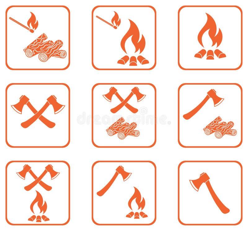 Set ognisko ikony ilustracja wektor