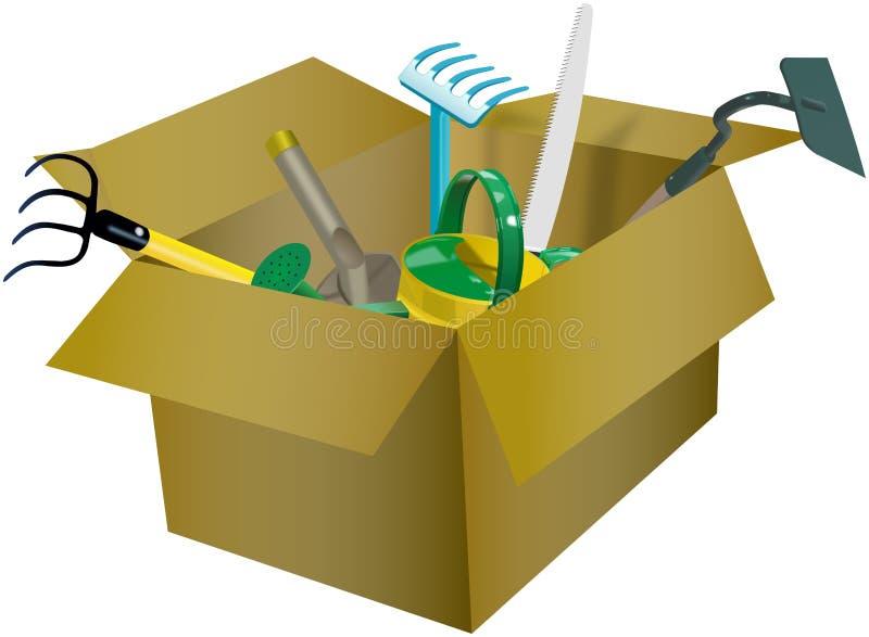 Download Set Ogrodowi Narzędzia W Kartonie Ilustracji - Ilustracja złożonej z pudełko, narzędzia: 53781065