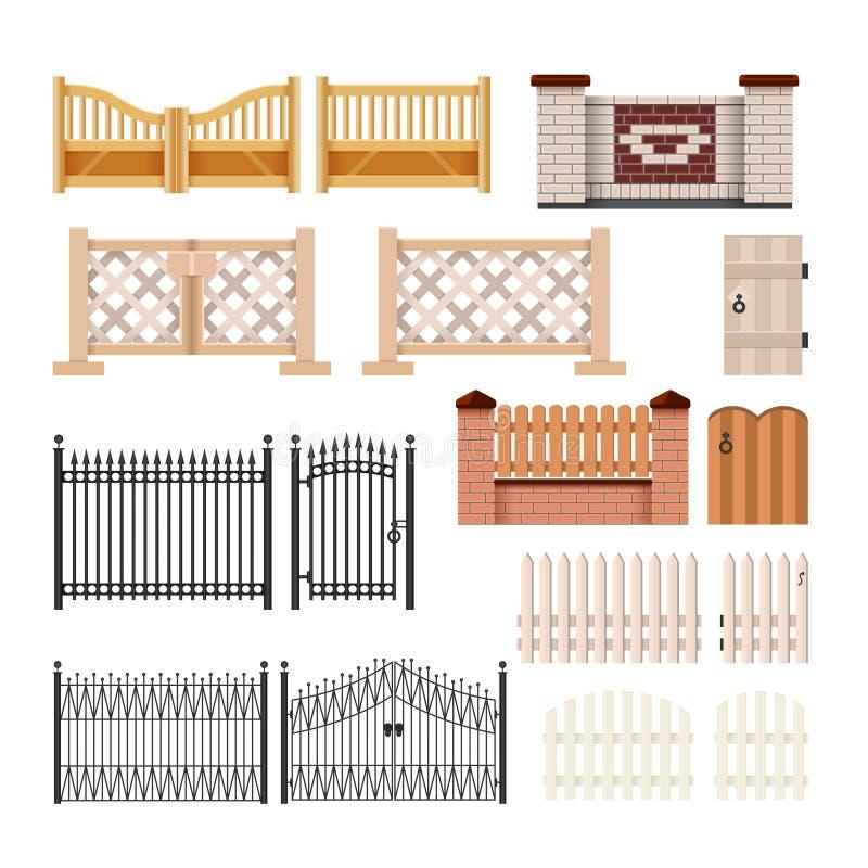 Set ogrodzenia - nowożytna wektorowa realistyczna odosobniona klamerki sztuka ilustracji