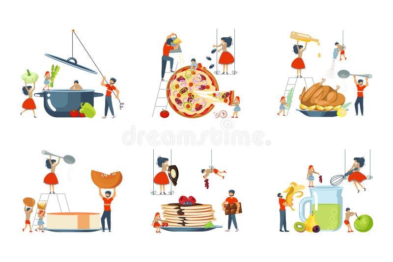 Set ogromny naczynie i mini ludzie charakterów rodzinnych royalty ilustracja