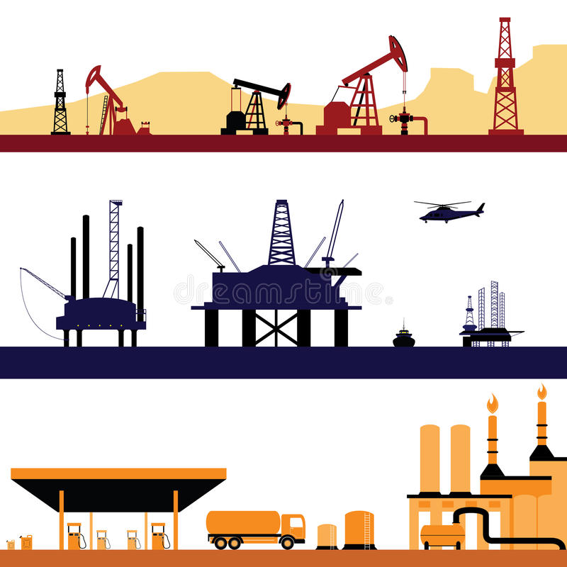 Set of Oil and Gas Energy Industry Landscape stock illustration