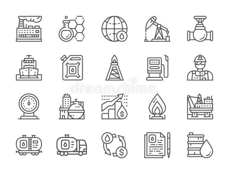 Set of Oil Industry Line Icons. Fuel Truck, Engineer, Factory and more. stock illustration