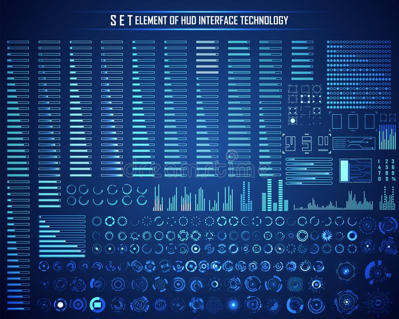 Set okrąg, Ładuje baru, HUD Abstrakcjonistyczna technologia cyfrowa UI F ilustracji