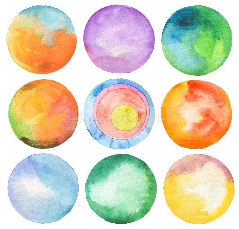 Set okrąg akwarela ilustracja wektor