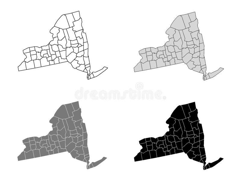 Set okręg administracyjny mapy stan usa Nowy Jork ilustracji