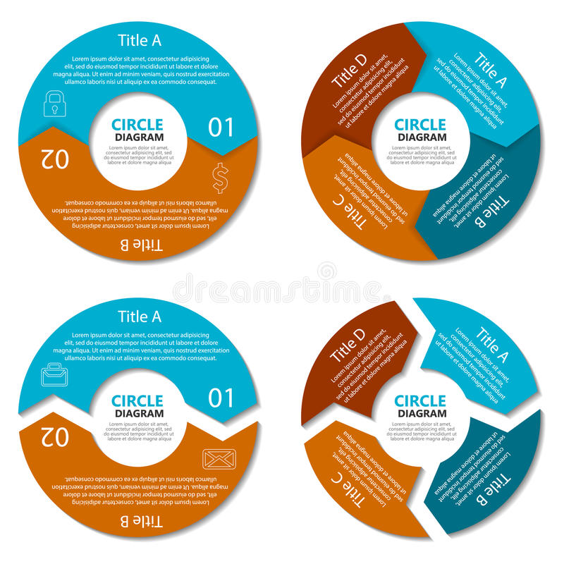 Set okręgu diagram Biznesowy pojęcie z dwa i cztery opcjami Round infographic royalty ilustracja
