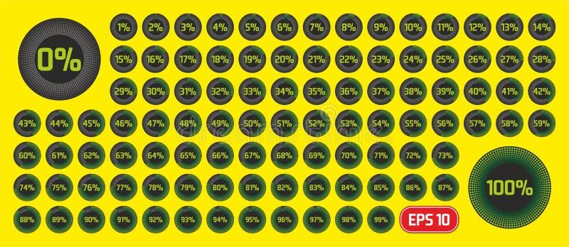 Set okręgu odsetka diagramy od (0) 100 procentów Post?pu pr?towy szablon Odsetka diagram ustawiający dla infographic, UI, sieć de ilustracja wektor