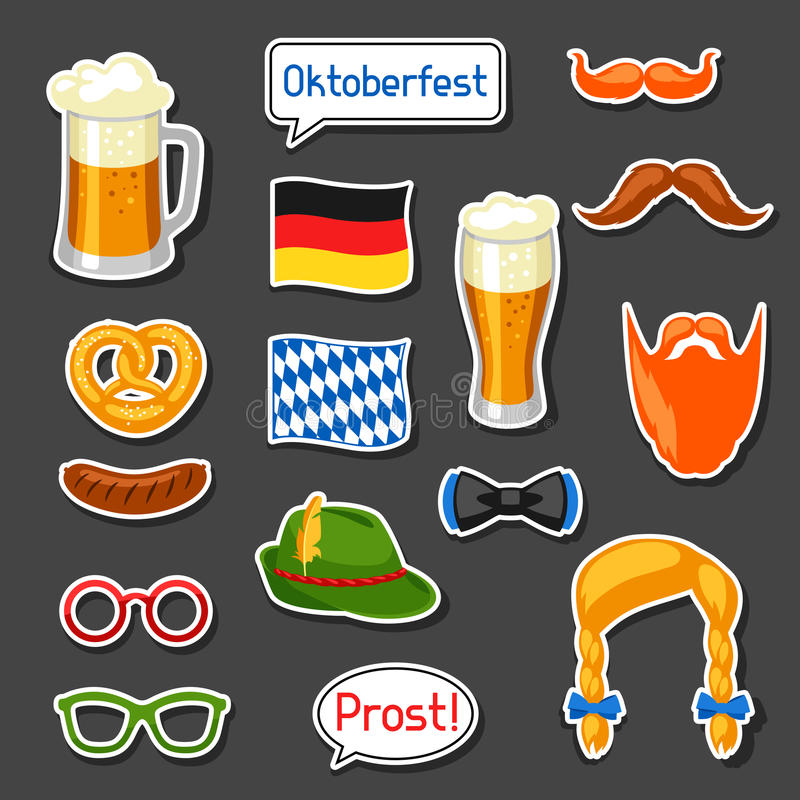 Set of Oktoberfest photo booth stickers. Accessories for festival and party stock illustration